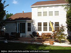 Before - Deck with Patio and Bar with Built in Fountain