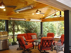 Covered Fiberon Ipe Deck with Tongue & Groove Pine Ceiling in Ballwin, MO