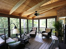 Screened Deck with Exposed Rafters
