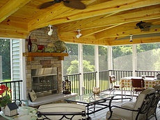 Azek Decking with Screen Room, Covered Deck and Fireplace in St. Louis, MO