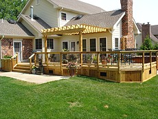 Cedar Deck with Pergola in St. Louis, MO