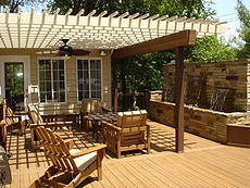 Timbertech Deck with Water Feature & Pergola - Chesterfield, MO