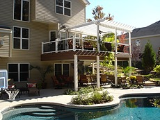 Timbertech Pacific Walnut Deck with Pergola in St. Louis, MO